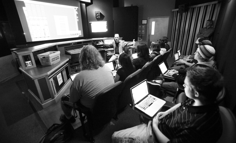 Class in session in the Studio D control room at Gilbert satellite campus.